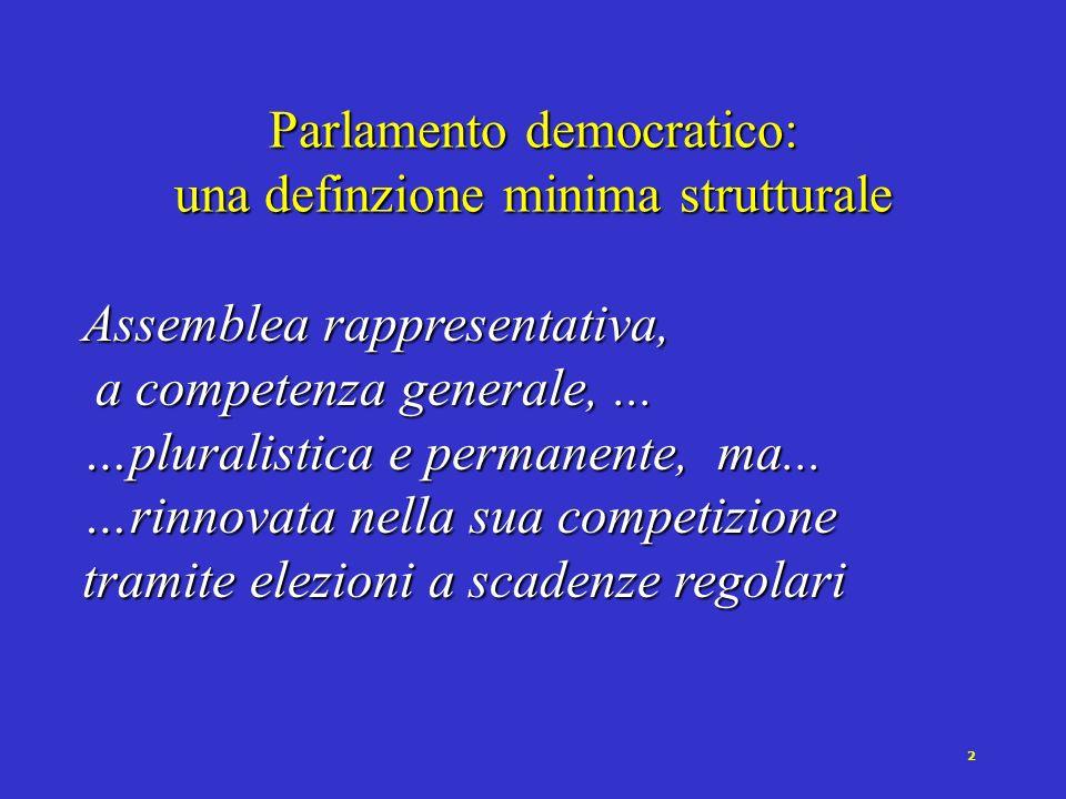 1 Che cosa connota i Parlamenti democratici.