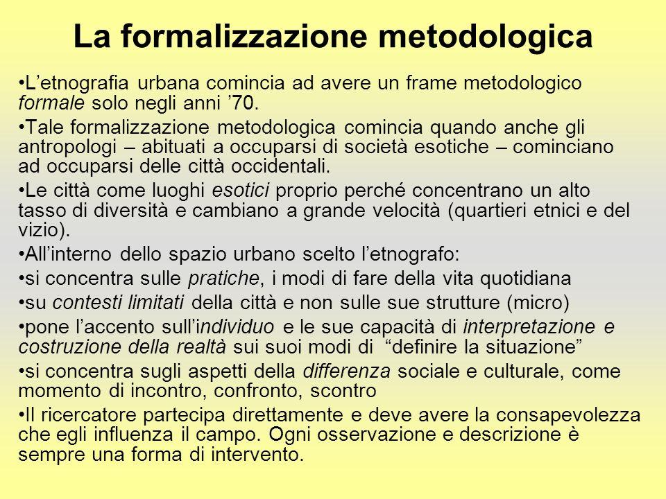 La formalizzazione metodologica Letnografia urbana comincia ad avere un frame metodologico formale solo negli anni 70.