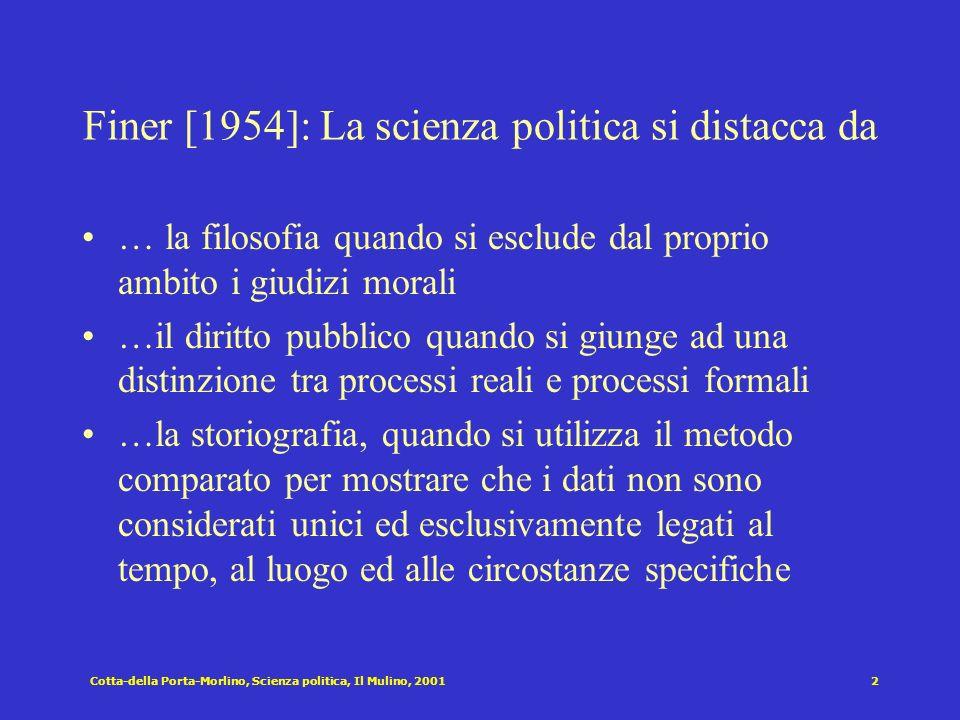 Cotta-della Porta-Morlino, Scienza politica, Il Mulino, 20011 Cap. III: La disciplina: origini, temi approcci Struttura del capitolo Scienza politica: