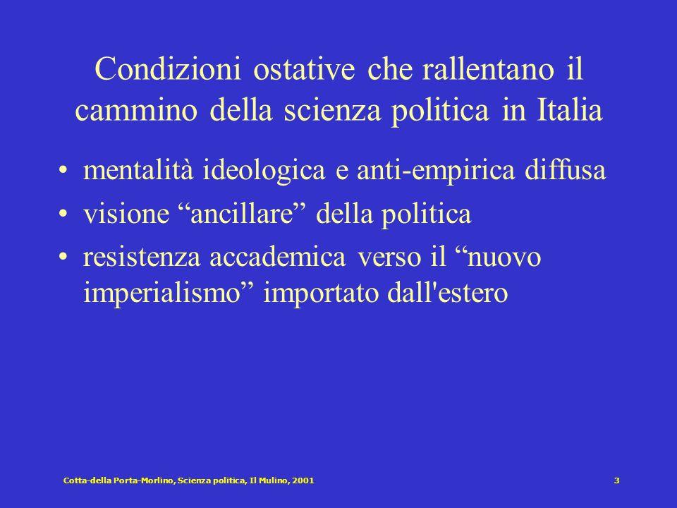 Cotta-della Porta-Morlino, Scienza politica, Il Mulino, 20012 Finer [1954]: La scienza politica si distacca da … la filosofia quando si esclude dal pr