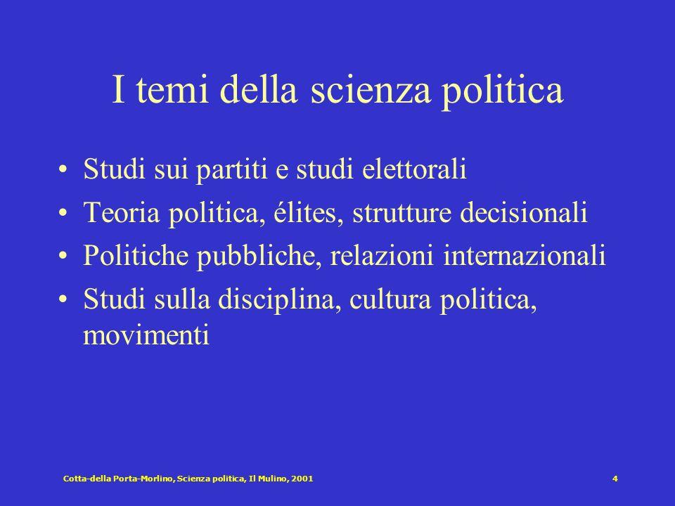 Cotta-della Porta-Morlino, Scienza politica, Il Mulino, 20013 Condizioni ostative che rallentano il cammino della scienza politica in Italia mentalità