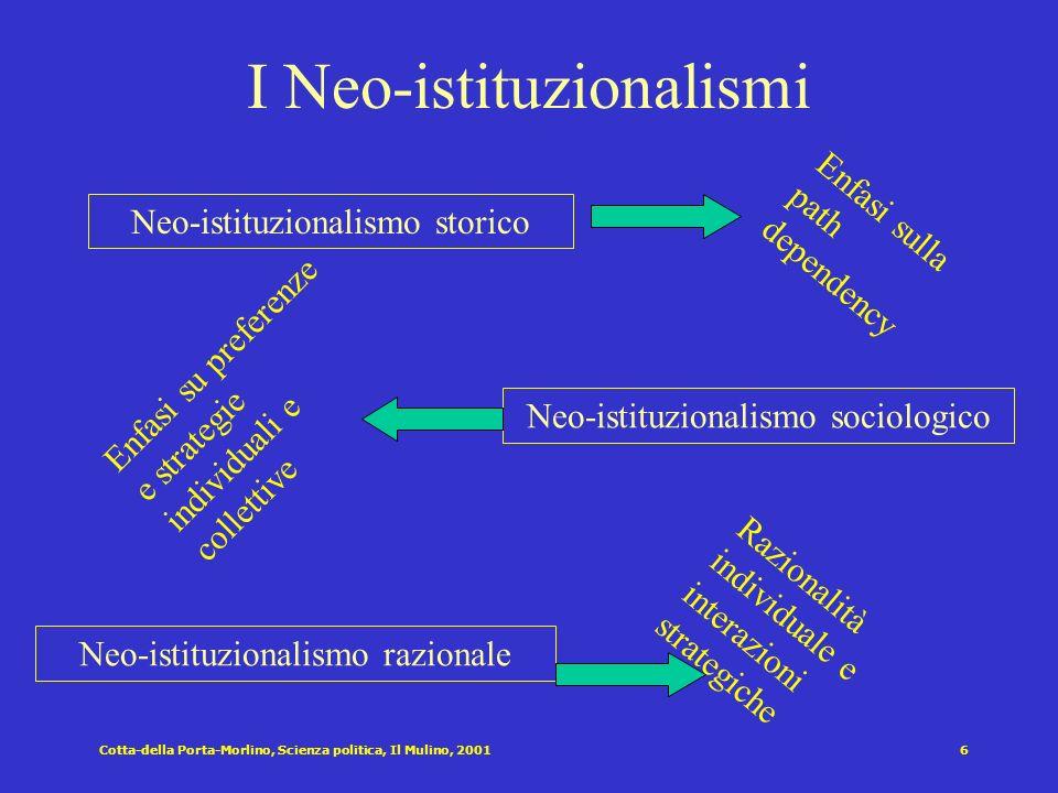Cotta-della Porta-Morlino, Scienza politica, Il Mulino, 20015 Gli approcci della scienza politica Anni 50 e prima Istituzionalismo classico Potere ed