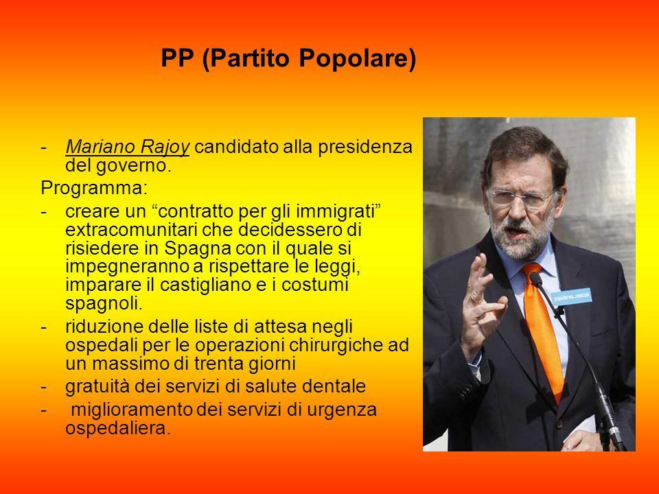 PP (Partito Popolare) -Mariano Rajoy candidato alla presidenza del governo. Programma: -creare un contratto per gli immigrati extracomunitari che deci