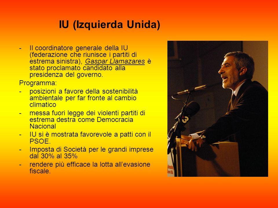 IU (Izquierda Unida) -Il coordinatore generale della IU (federazione che riunisce i partiti di estrema sinistra), Gaspar Llamazares è stato proclamato