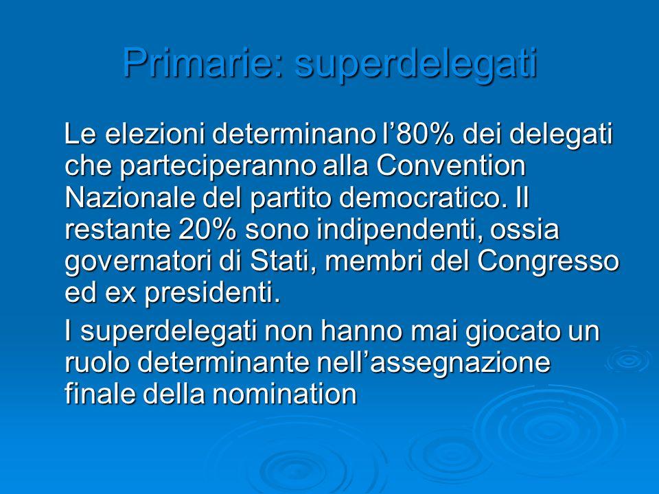 Primarie: superdelegati Le elezioni determinano l80% dei delegati che parteciperanno alla Convention Nazionale del partito democratico. Il restante 20