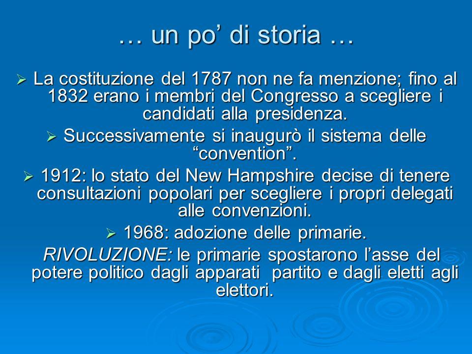 … un po di storia … La costituzione del 1787 non ne fa menzione; fino al 1832 erano i membri del Congresso a scegliere i candidati alla presidenza. La