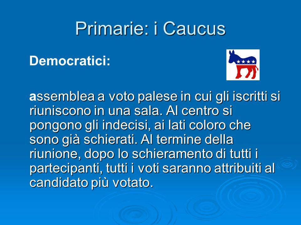 Primarie: i Caucus Democratici: ssemblea a voto palese in cui gli iscritti si riuniscono in una sala. Al centro si pongono gli indecisi, ai lati color