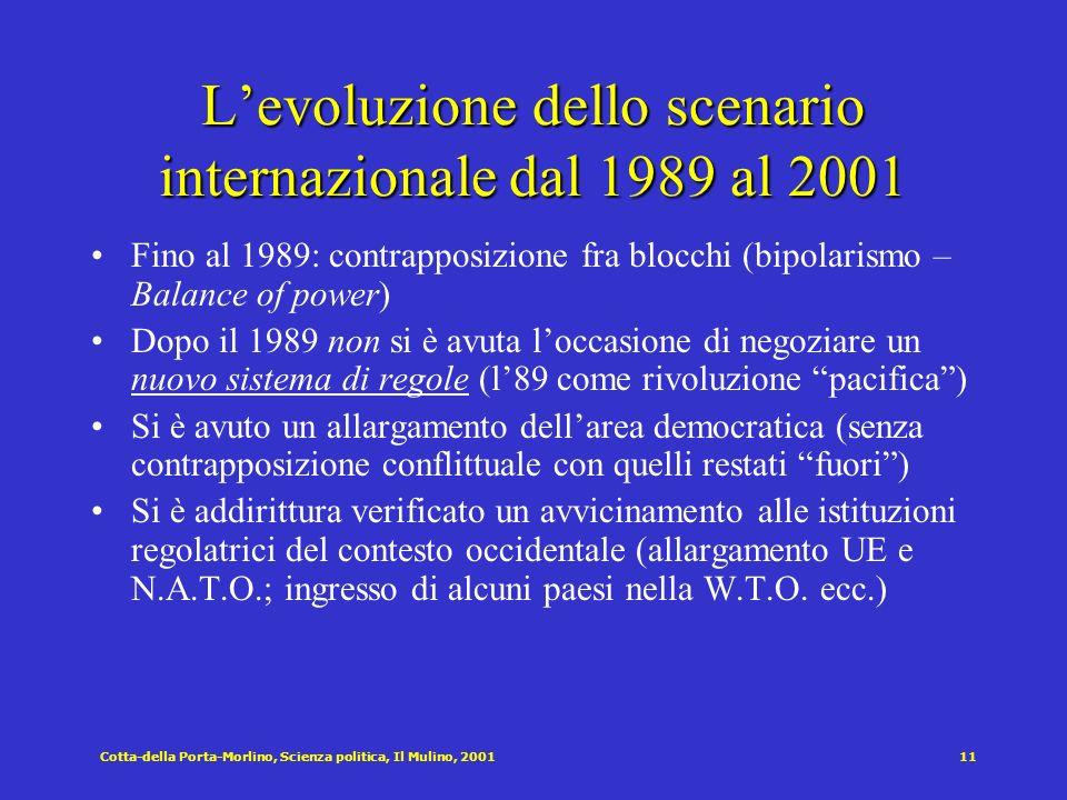 Cotta-della Porta-Morlino, Scienza politica, Il Mulino, 200111 Levoluzione dello scenario internazionale dal 1989 al 2001 Fino al 1989: contrapposizio