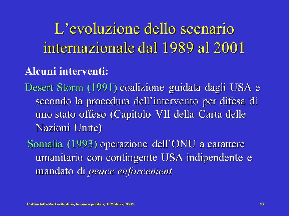 Cotta-della Porta-Morlino, Scienza politica, Il Mulino, 200112 Levoluzione dello scenario internazionale dal 1989 al 2001 Alcuni interventi: Desert St