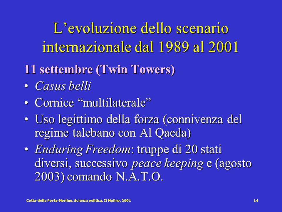 Cotta-della Porta-Morlino, Scienza politica, Il Mulino, 200114 Levoluzione dello scenario internazionale dal 1989 al 2001 11 settembre (Twin Towers) C