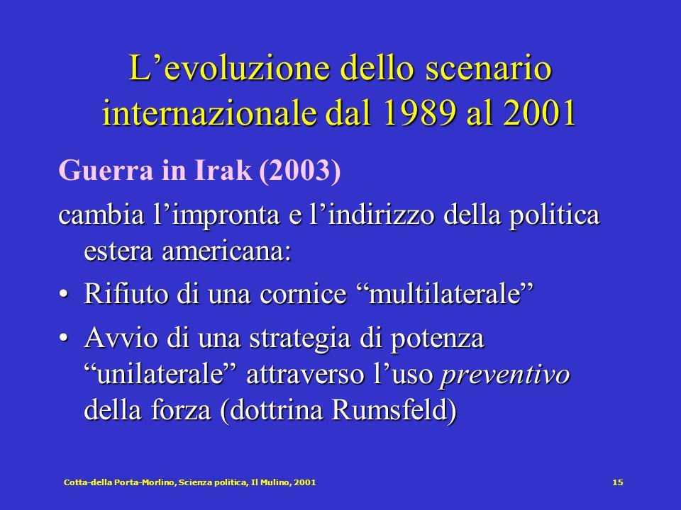 Cotta-della Porta-Morlino, Scienza politica, Il Mulino, 200115 Levoluzione dello scenario internazionale dal 1989 al 2001 Guerra in Irak (2003) cambia