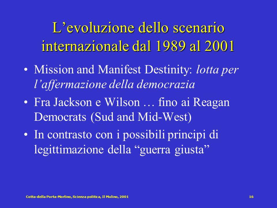 Cotta-della Porta-Morlino, Scienza politica, Il Mulino, 200116 Levoluzione dello scenario internazionale dal 1989 al 2001 Mission and Manifest Destini