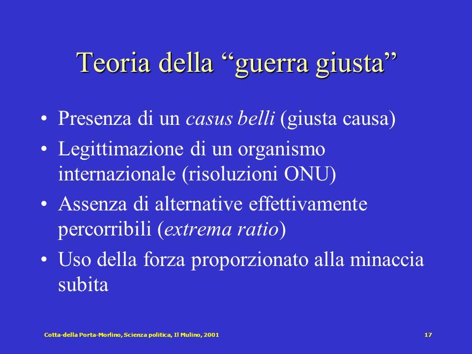 Cotta-della Porta-Morlino, Scienza politica, Il Mulino, 200117 Teoria della guerra giusta Presenza di un casus belli (giusta causa) Legittimazione di
