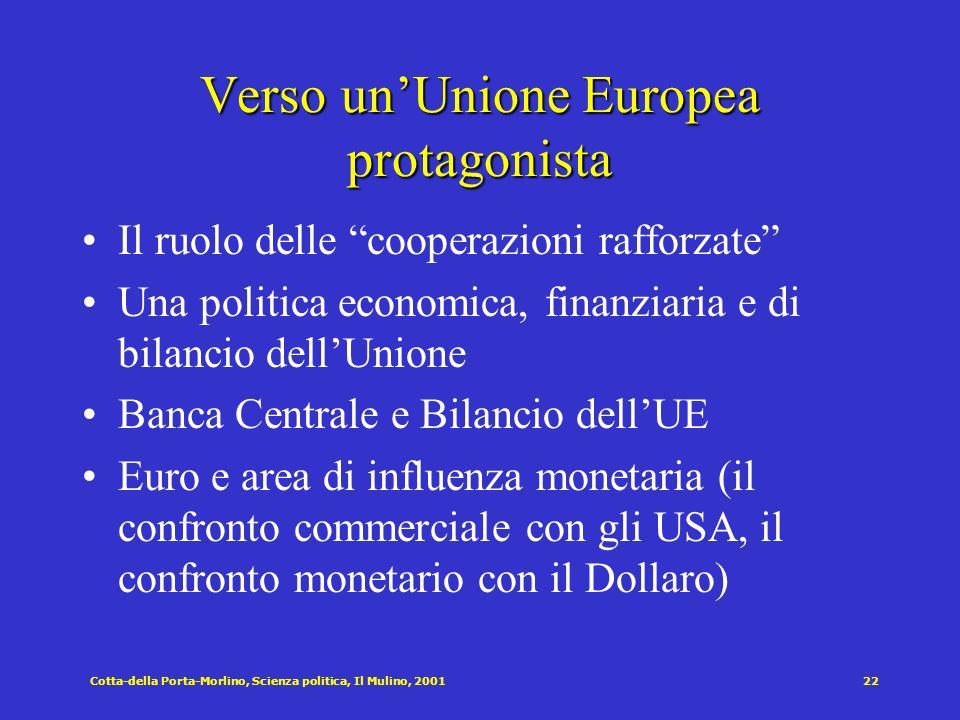 Cotta-della Porta-Morlino, Scienza politica, Il Mulino, 200122 Verso unUnione Europea protagonista Il ruolo delle cooperazioni rafforzate Una politica