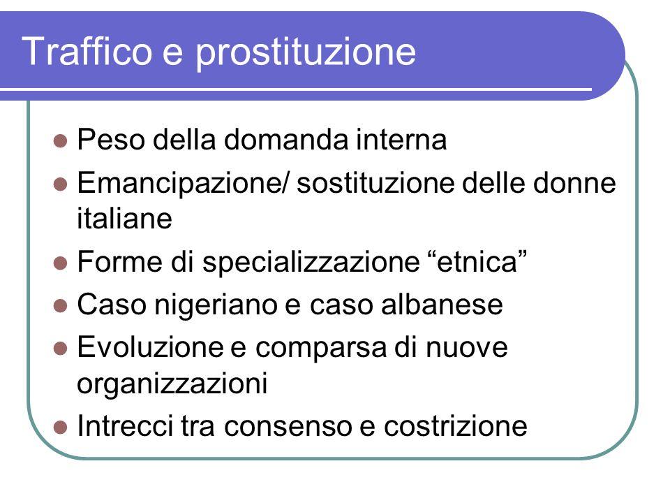 Traffico e prostituzione Peso della domanda interna Emancipazione/ sostituzione delle donne italiane Forme di specializzazione etnica Caso nigeriano e
