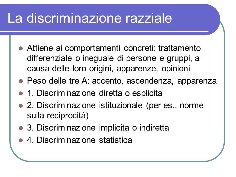 La discriminazione razziale Attiene ai comportamenti concreti: trattamento differenziale o ineguale di persone e gruppi, a causa delle loro origini, a