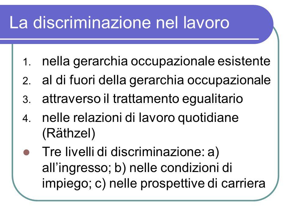 La discriminazione nel lavoro 1. nella gerarchia occupazionale esistente 2. al di fuori della gerarchia occupazionale 3. attraverso il trattamento egu