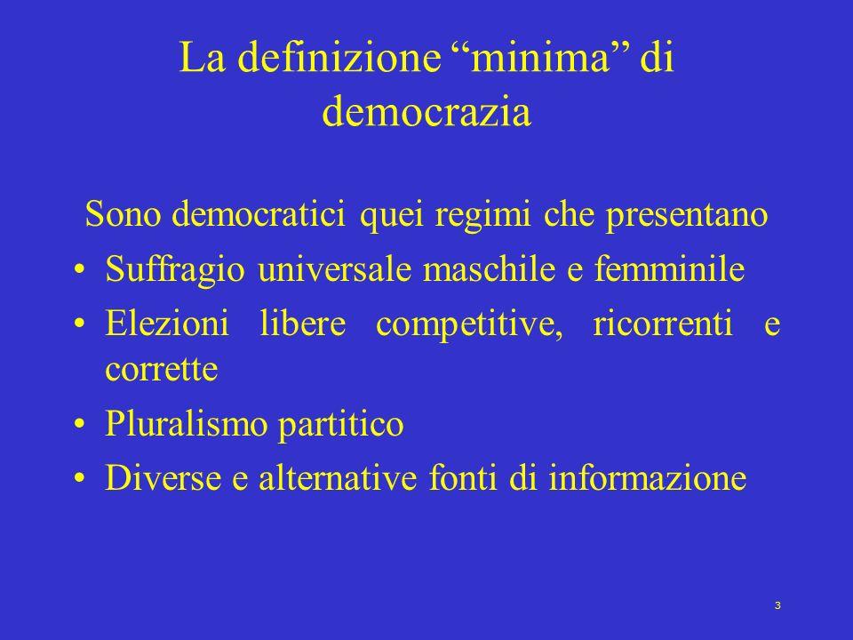 3 La definizione minima di democrazia Sono democratici quei regimi che presentano Suffragio universale maschile e femminile Elezioni libere competitiv