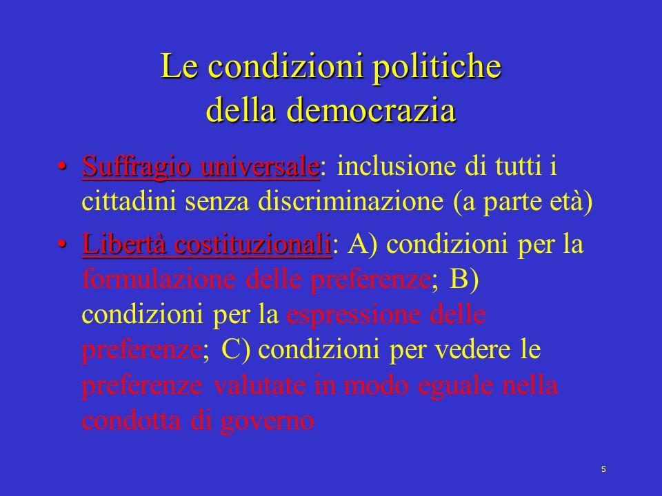 6 Il processo di democratizzazione Due dimensioni salienti (Dahl, 1971): 1.Contestazione nei confronti dellautorità (Liberalizzazione) 2.Allargamento delle attività di partecipazione (Inclusività) Democratizzazione=Liberalizzazione + Inclusività