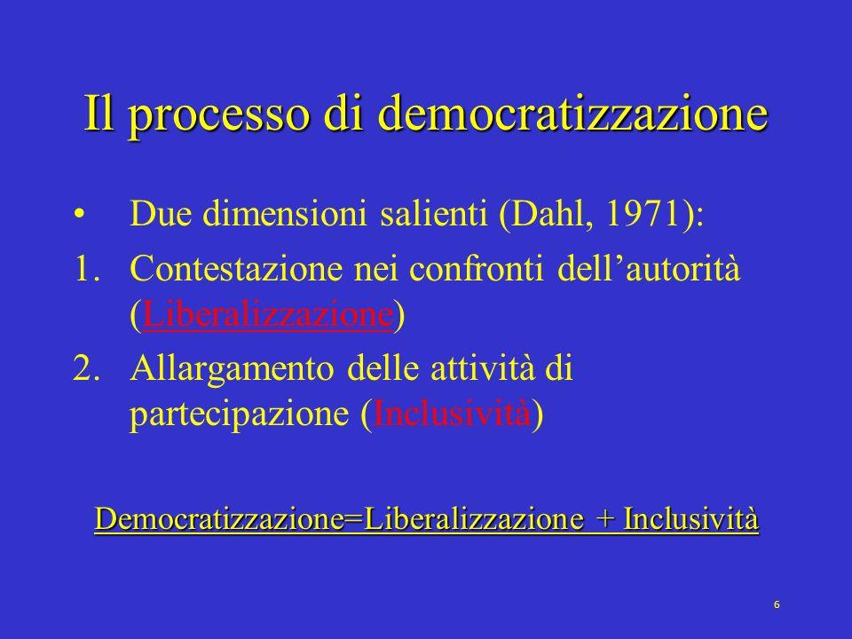 7 Il processo di democratizzazione Liberalizzazione: nascita dei diritti civili Inclusività: espansione dei diritti politici (elettorato attivo e passivo) I TRE PERCORSI VERSO LA DEMOCRAZIA 1.Dalle egemonie chiuse alle oligarchie competitive (dal capo alle élite concorrenti), poi alla poliarchia **** 2.Dalle egemonie chiuse alle egemonie includenti (dal capo alle masse), poi alla poliarchia 3.Scorciatoia: liberalizzazione e inclusività INSIEME