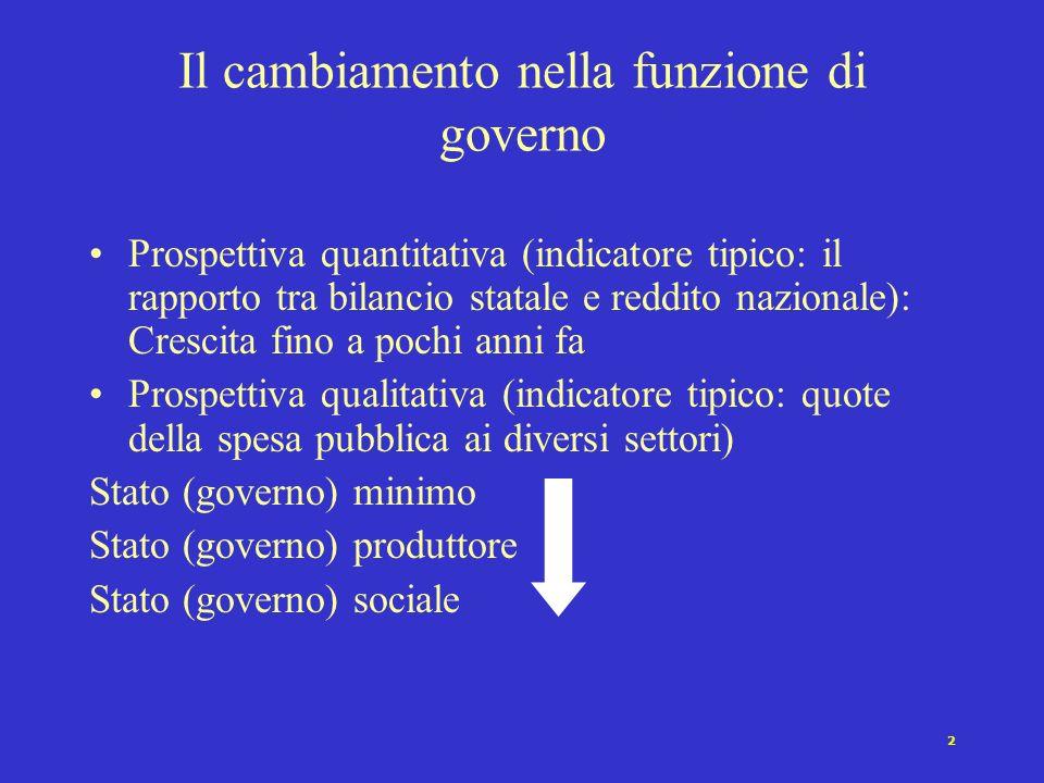 1 Cap. XIII: I governi Governo come funzione e governo come istituzione Variazioni nel tempo della funzione di governo Istituzioni di governo: anteced