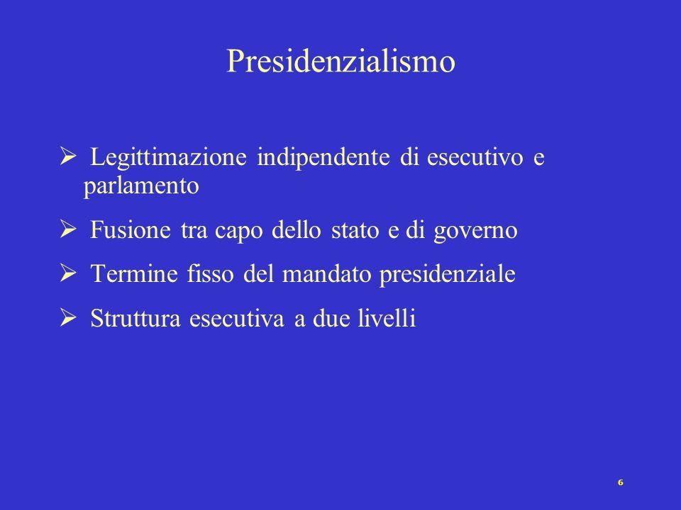 6 Presidenzialismo Legittimazione indipendente di esecutivo e parlamento Fusione tra capo dello stato e di governo Termine fisso del mandato presidenziale Struttura esecutiva a due livelli