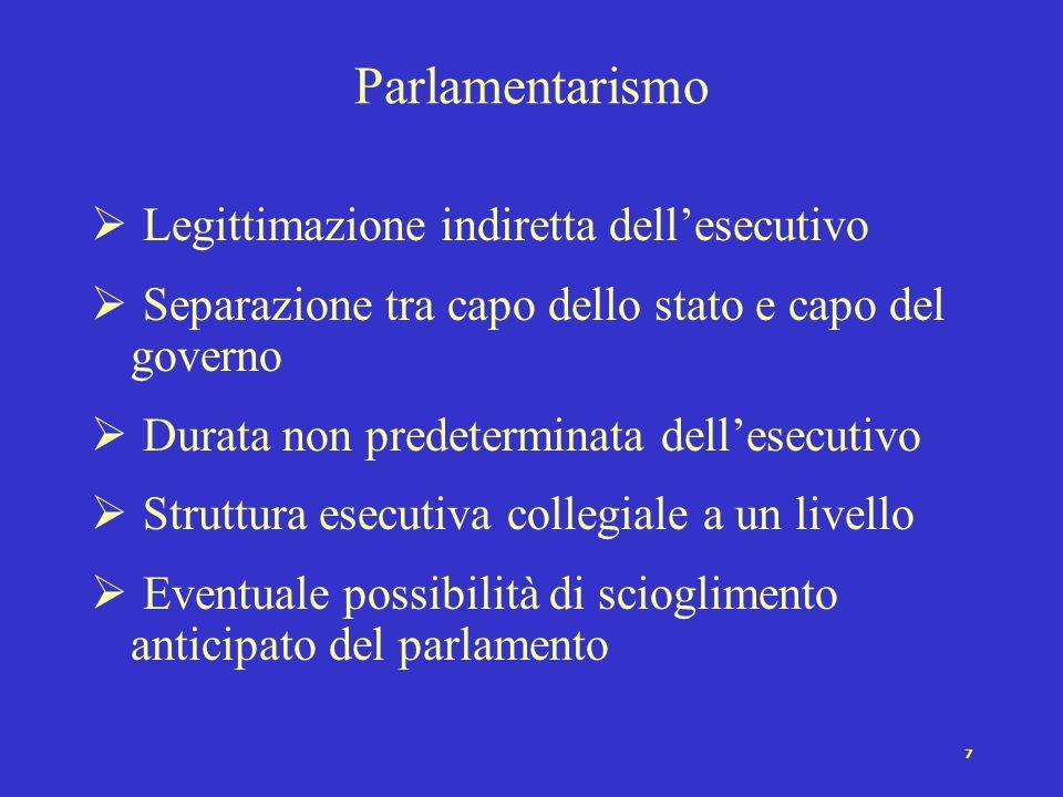 7 Parlamentarismo Legittimazione indiretta dellesecutivo Separazione tra capo dello stato e capo del governo Durata non predeterminata dellesecutivo Struttura esecutiva collegiale a un livello Eventuale possibilità di scioglimento anticipato del parlamento