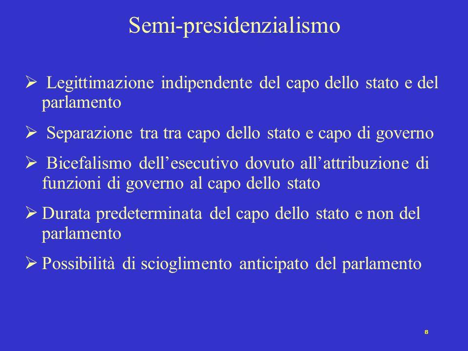7 Parlamentarismo Legittimazione indiretta dellesecutivo Separazione tra capo dello stato e capo del governo Durata non predeterminata dellesecutivo S