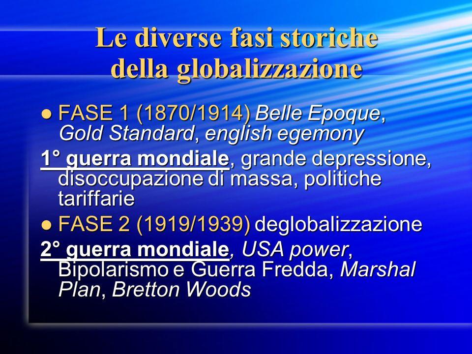 Le diverse fasi storiche della globalizzazione FASE 1 (1870/1914) Belle Epoque, Gold Standard, english egemony FASE 1 (1870/1914) Belle Epoque, Gold S