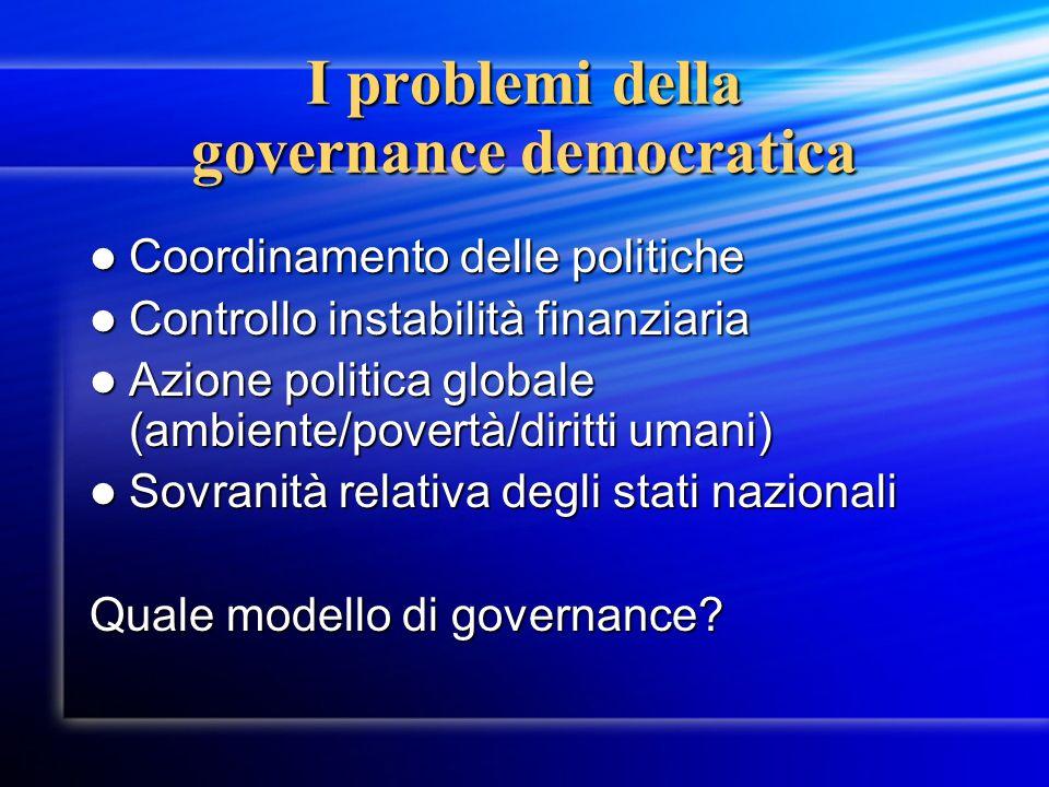 I problemi della governance democratica Coordinamento delle politiche Coordinamento delle politiche Controllo instabilità finanziaria Controllo instab
