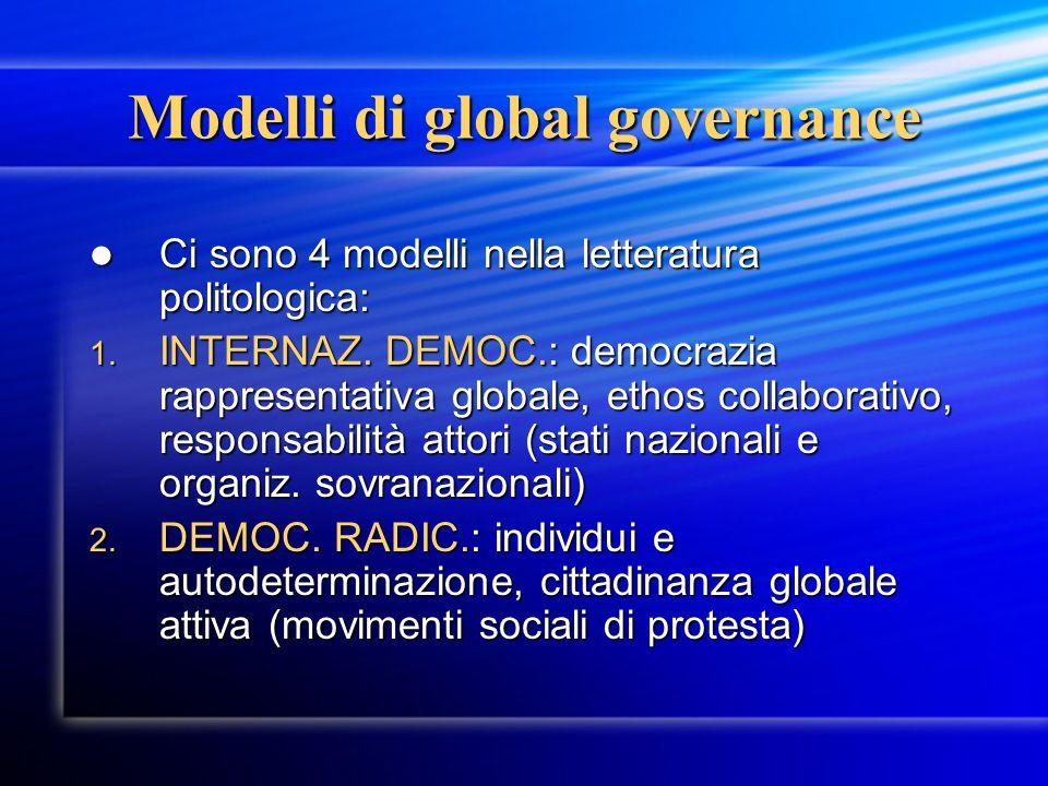 Modelli di global governance Ci sono 4 modelli nella letteratura politologica: Ci sono 4 modelli nella letteratura politologica: 1. INTERNAZ. DEMOC.: