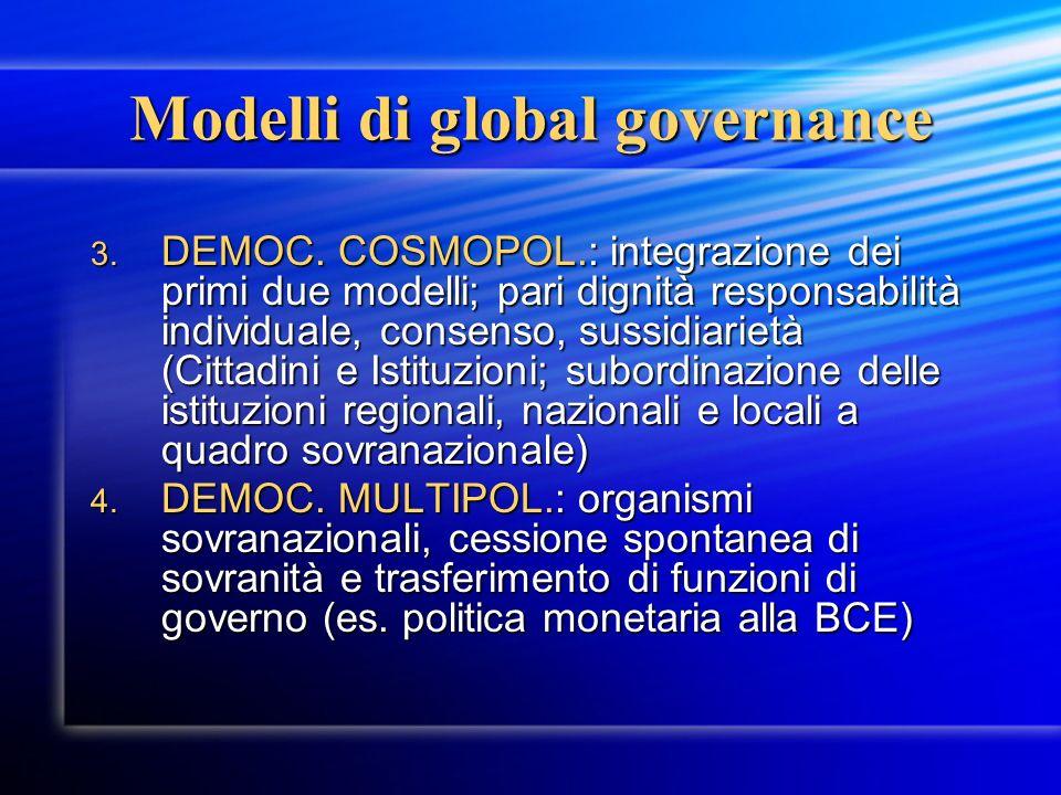 Modelli di global governance 3. DEMOC. COSMOPOL.: integrazione dei primi due modelli; pari dignità responsabilità individuale, consenso, sussidiarietà