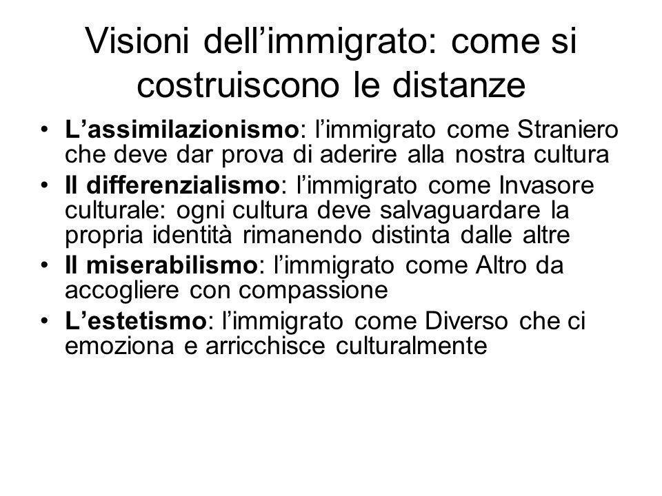 Visioni dellimmigrato: come si costruiscono le distanze Lassimilazionismo: limmigrato come Straniero che deve dar prova di aderire alla nostra cultura