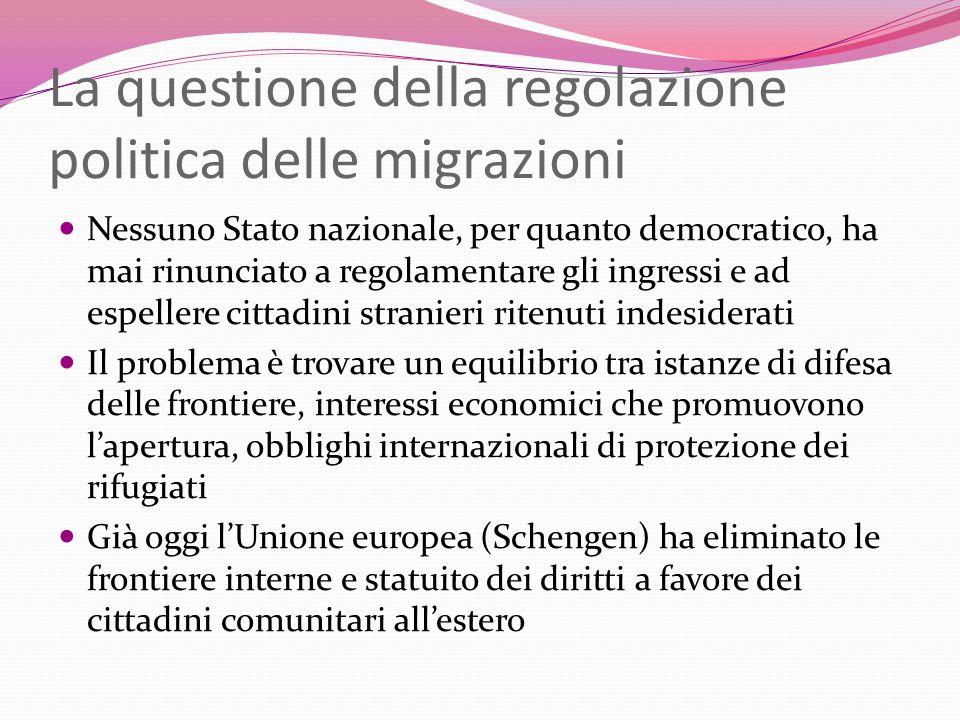 La questione della regolazione politica delle migrazioni Nessuno Stato nazionale, per quanto democratico, ha mai rinunciato a regolamentare gli ingres