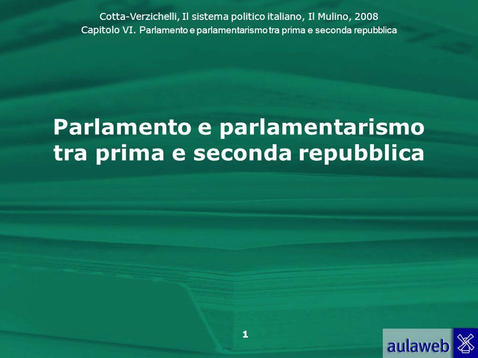Cotta-Verzichelli, Il sistema politico italiano, Il Mulino, 2008 Capitolo VI. Parlamento e parlamentarismo tra prima e seconda repubblica 1 Parlamento