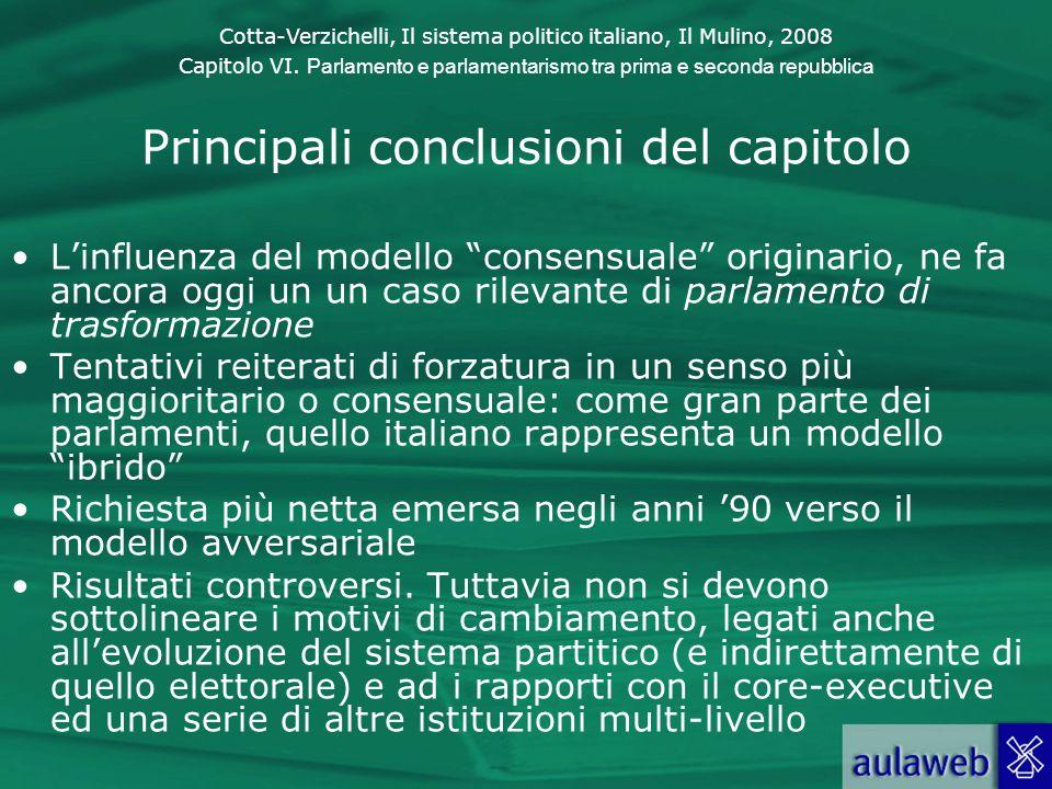 Cotta-Verzichelli, Il sistema politico italiano, Il Mulino, 2008 Capitolo VI. Parlamento e parlamentarismo tra prima e seconda repubblica Principali c