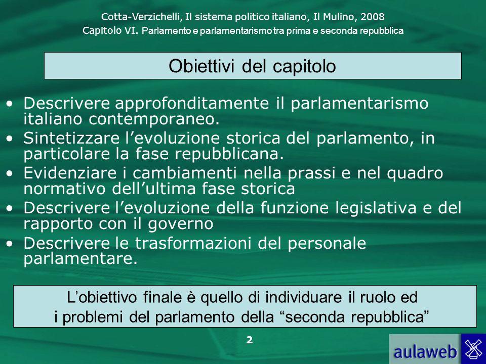 Cotta-Verzichelli, Il sistema politico italiano, Il Mulino, 2008 Capitolo VI. Parlamento e parlamentarismo tra prima e seconda repubblica 2 Descrivere