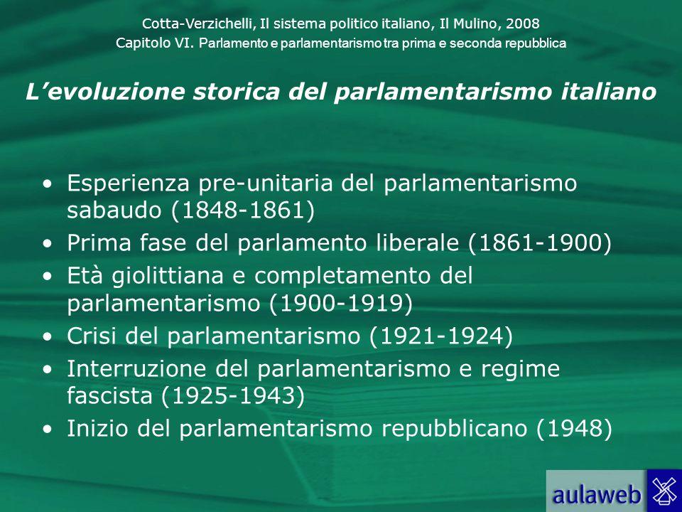 Cotta-Verzichelli, Il sistema politico italiano, Il Mulino, 2008 Capitolo VI. Parlamento e parlamentarismo tra prima e seconda repubblica Levoluzione