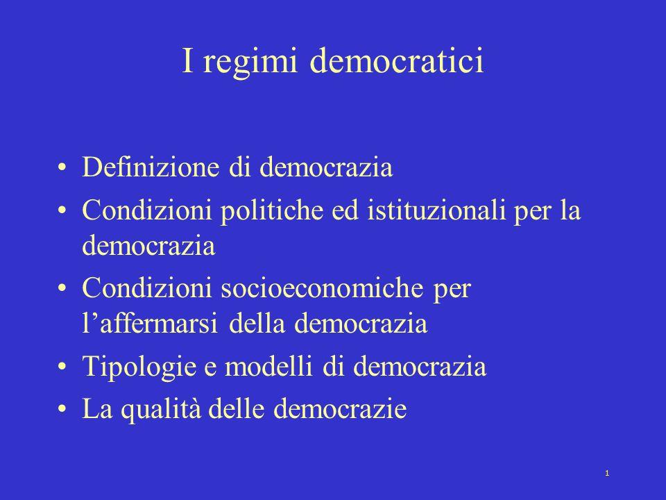 1 I regimi democratici Definizione di democrazia Condizioni politiche ed istituzionali per la democrazia Condizioni socioeconomiche per laffermarsi de