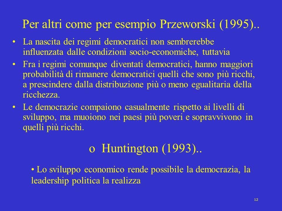 12 Per altri come per esempio Przeworski (1995).. La nascita dei regimi democratici non sembrerebbe influenzata dalle condizioni socio-economiche, tut