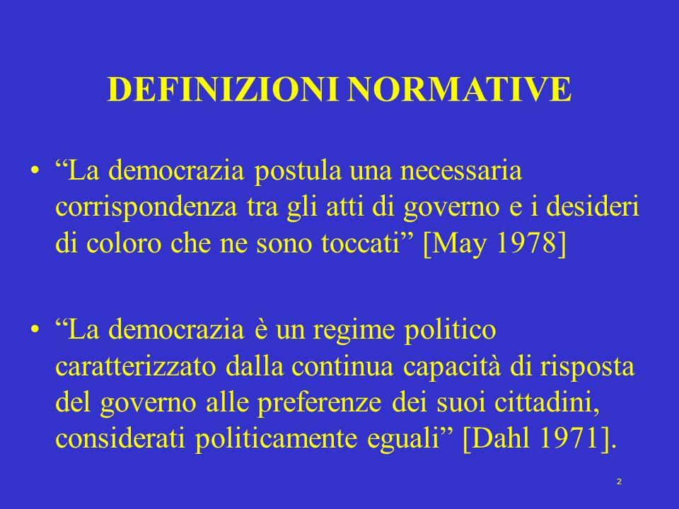 2 DEFINIZIONI NORMATIVE La democrazia postula una necessaria corrispondenza tra gli atti di governo e i desideri di coloro che ne sono toccati [May 19
