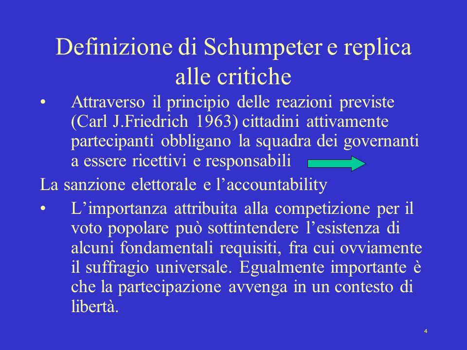 4 Definizione di Schumpeter e replica alle critiche Attraverso il principio delle reazioni previste (Carl J.Friedrich 1963) cittadini attivamente part