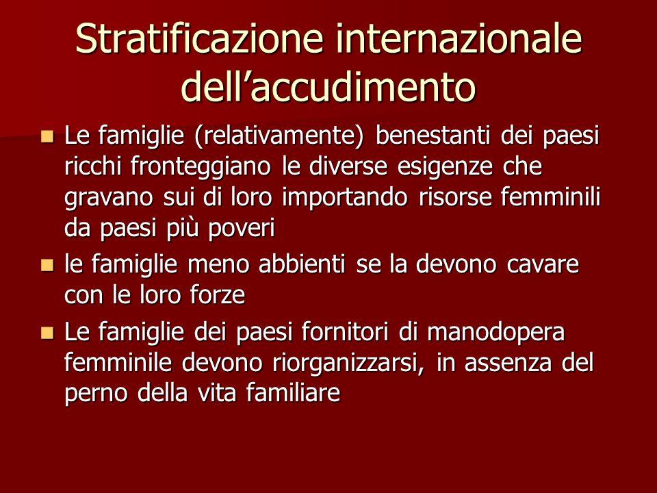 Stratificazione internazionale dellaccudimento Le famiglie (relativamente) benestanti dei paesi ricchi fronteggiano le diverse esigenze che gravano su