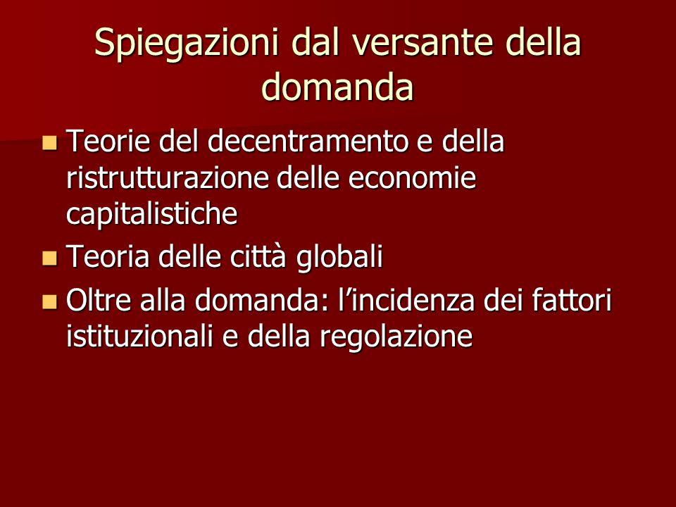 Spiegazioni dal versante della domanda Teorie del decentramento e della ristrutturazione delle economie capitalistiche Teorie del decentramento e dell
