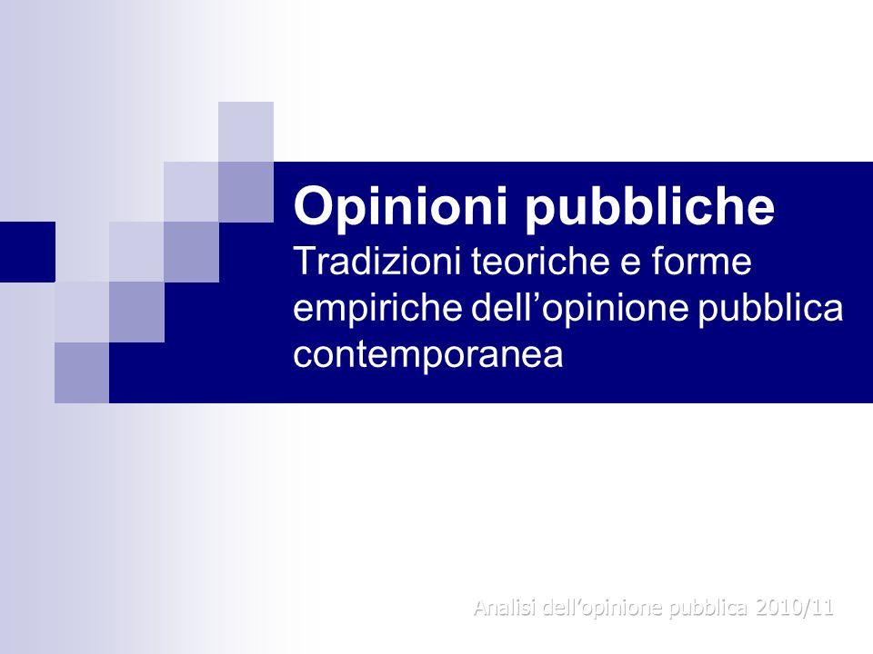 Opinioni pubbliche Tradizioni teoriche e forme empiriche dellopinione pubblica contemporanea