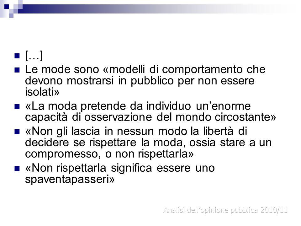 […] Le mode sono «modelli di comportamento che devono mostrarsi in pubblico per non essere isolati» «La moda pretende da individuo unenorme capacità d