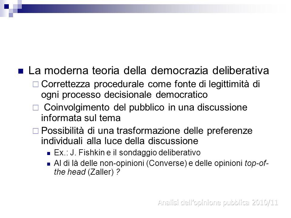 La moderna teoria della democrazia deliberativa Correttezza procedurale come fonte di legittimità di ogni processo decisionale democratico Coinvolgime