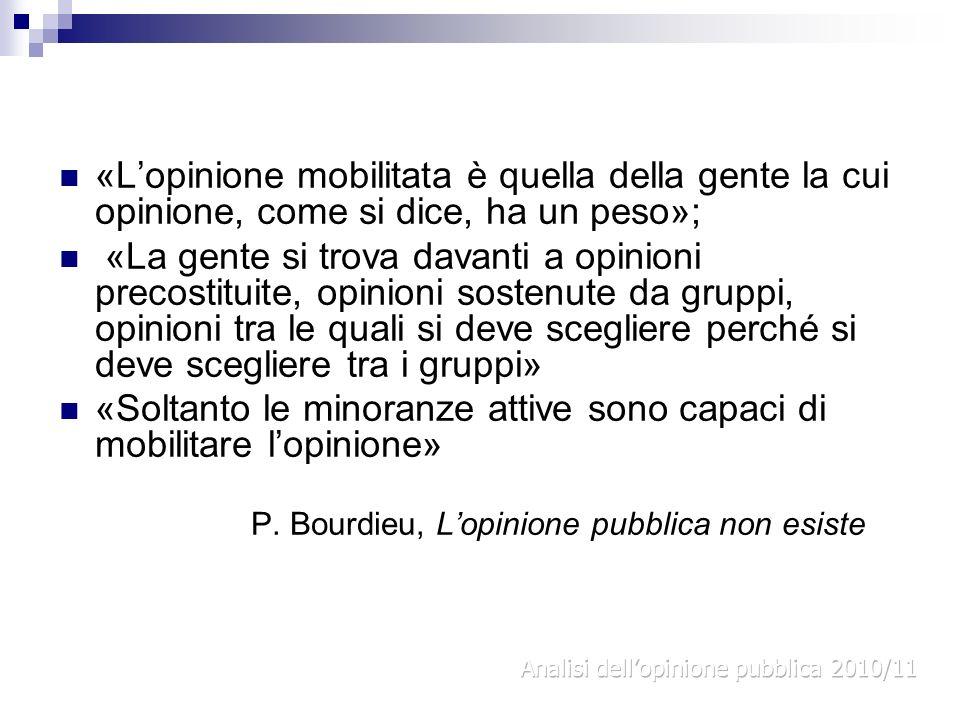 «Lopinione mobilitata è quella della gente la cui opinione, come si dice, ha un peso»; «La gente si trova davanti a opinioni precostituite, opinioni s
