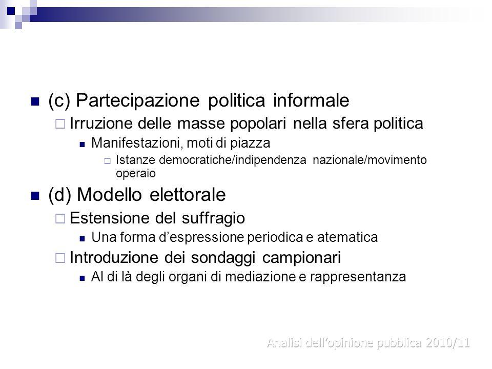 (c) Partecipazione politica informale Irruzione delle masse popolari nella sfera politica Manifestazioni, moti di piazza Istanze democratiche/indipend