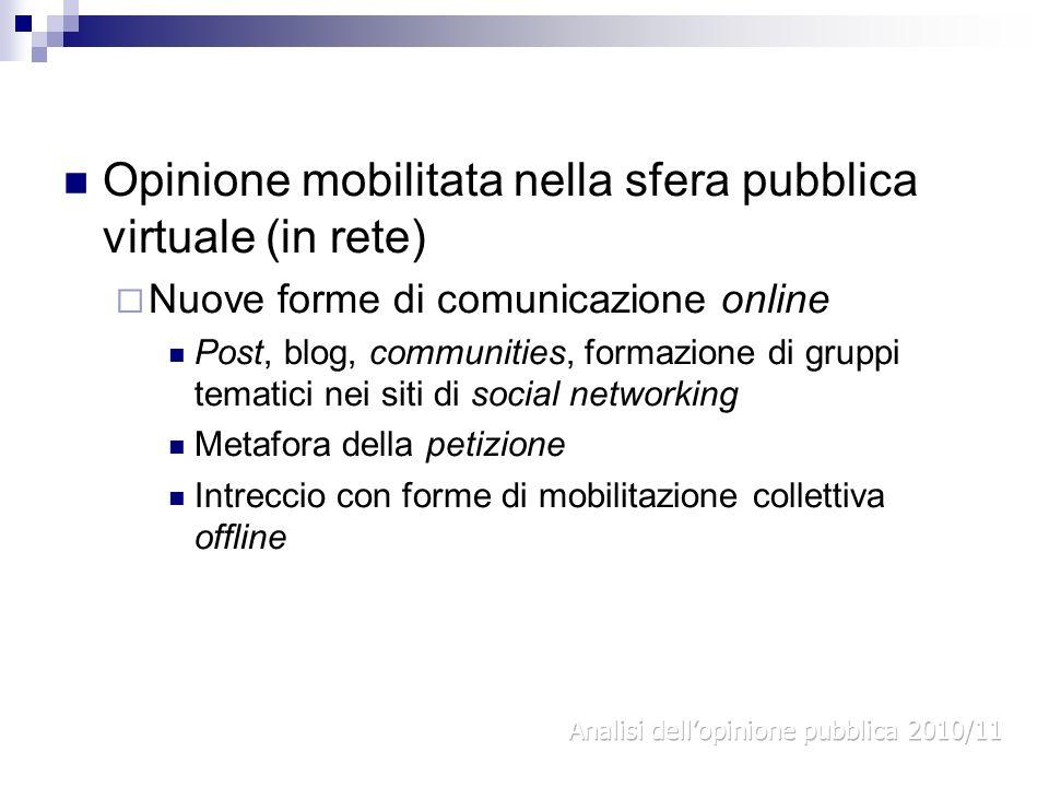 Opinione mobilitata nella sfera pubblica virtuale (in rete) Nuove forme di comunicazione online Post, blog, communities, formazione di gruppi tematici